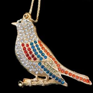 Betsey Johnson Multi Color Cute Bird Pendant